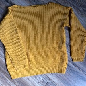 Sweaters - Yellow off the shoulder sweater